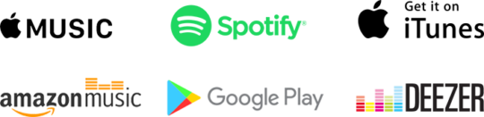 Logos for music platforms: Apple Music, Spotify, iTunes, Amazon Music, Google Play, and Deezer